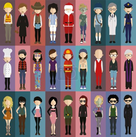 Illustration pour Ensemble d'icônes de personnes dans un style plat. Vecteur femmes, hommes caractère - image libre de droit