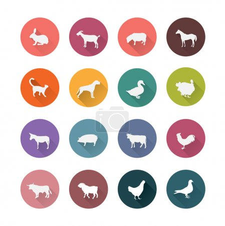 Farm animals icons set.
