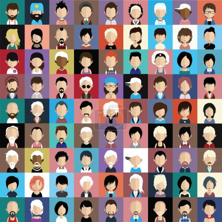 Illustration for Set of people icons in flat style with faces. Vector women, men characters - Royalty Free Image