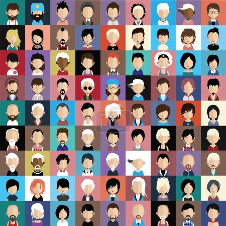Photo pour Ensemble d'icônes de personnes dans un style plat avec des visages. Vecteur femmes, hommes personnages - image libre de droit