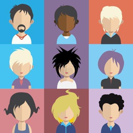 Illustration pour Ensemble d'icônes de personnes dans un style plat avec des visages. Vecteur femmes, hommes caractère - image libre de droit