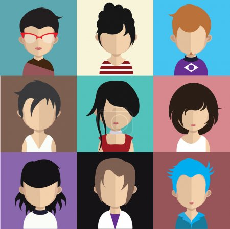 Illustration for Set of people icons in flat style with faces. Vector women, men character - Royalty Free Image
