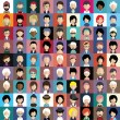 Set of people icons in flat style with faces. Vect...