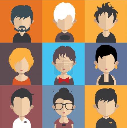 Photo pour Ensemble d'icônes de personnes dans un style plat avec des visages. Vecteur femmes, hommes caractère - image libre de droit