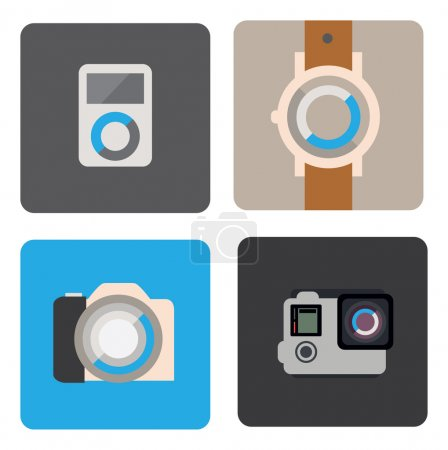 mp3 player, watch, camera icons
