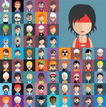 Illustration pour Ensemble d'icônes de personnes dans un style plat avec des visages. Vecteur femmes, hommes personnages - image libre de droit