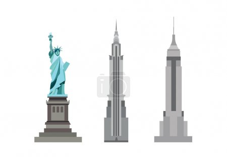 american skyscrapers and Statue of Liberty