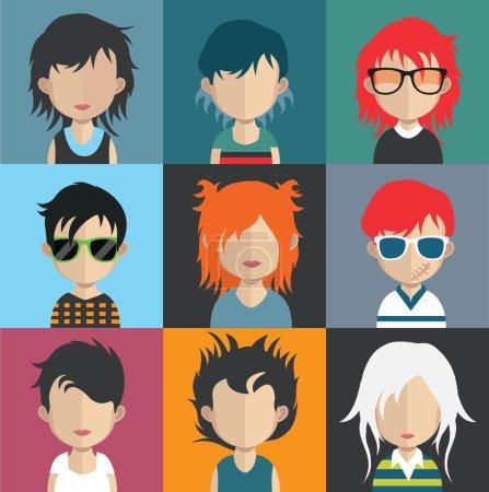 Illustration pour Ensemble d'icônes de personnes dans un style plat avec des visages. Vecteur femmes, hommes personnages collection. divers style de mode, regarder avatars - image libre de droit
