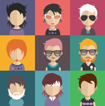 Illustration for Set of people icons in flat style with faces. Vector women, men characters collection. various fashion style, look avatars - Royalty Free Image