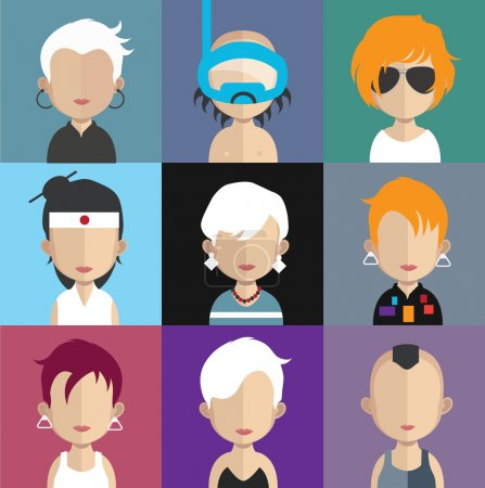 Illustration for Set of people icons in flat style with faces. Vector women, female collection. various fashion style, look avatars - Royalty Free Image