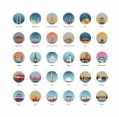 set of landmarks tourist sites