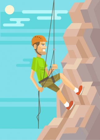 Illustration for Climber. Vector flat illustration - Royalty Free Image