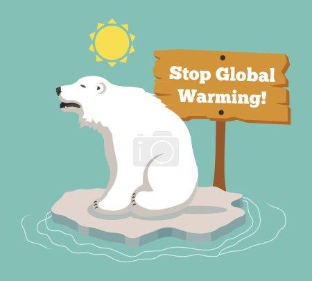 Stop global warming. Vector flat illustration