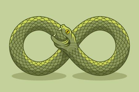 Illustration pour Le serpent se mord la queue. Un symbole magique. Illustration vectorielle - image libre de droit