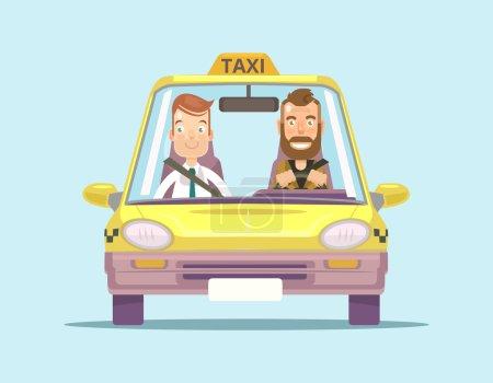 Illustration pour Taxi et chauffeur de taxi avec passager. Illustration vectorielle plate - image libre de droit