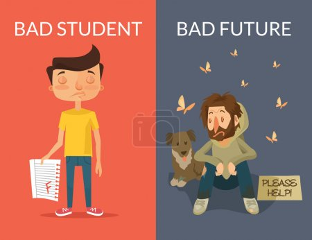 Bad future. Vector flat illustration