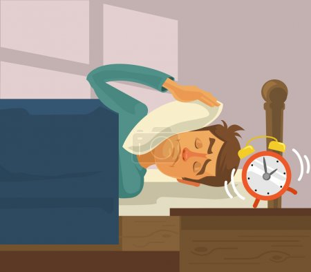 Morning alarm clock. Vector flat illustration