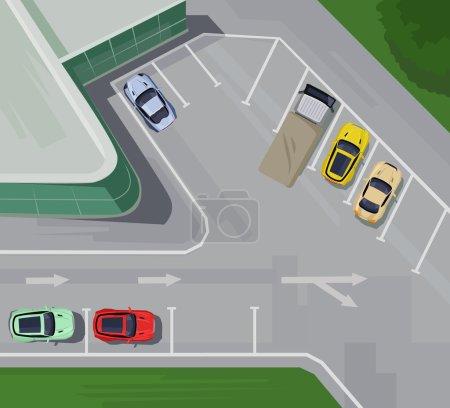 Illustration pour Parking avec vue sur le dessus. Illustration vectorielle plate - image libre de droit