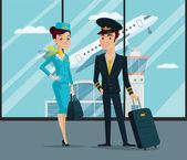 Pilot and stewardess Vector cartoon illustration