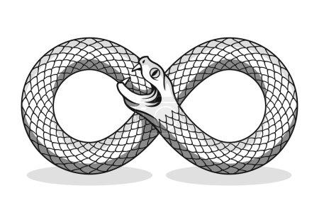 Illustration pour Le serpent se mord la queue. Un symbole magique. Illustration vectorielle noir et blanc - image libre de droit