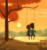 """Постер, картина, фотообои """"Два влюбленных сидели на качелях на закате. Векторная иллюстрация плоский мультфильм"""""""