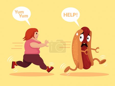 Fat girl is running. Vector flat cartoon illustration