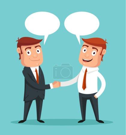 Businessman shaking hands. Vector flat illustration