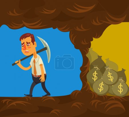 Illustration for Never give up. Vector flat cartoon illustration - Royalty Free Image