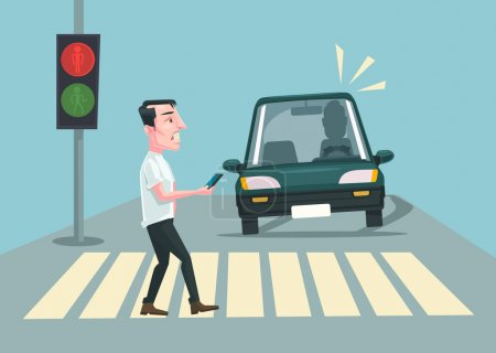 Illustration for Pedestrian accident. Vector flat cartoon illustration - Royalty Free Image