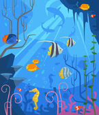 Underwater Vector flat cartoon illustration