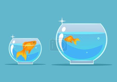 Illustration pour Du poisson doré. Illustration vectorielle de dessin animé plat - image libre de droit