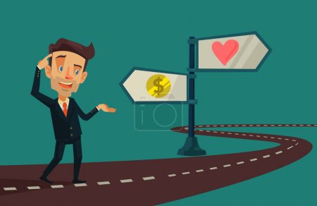 Illustration for Choice between love and money. Vector cartoon flat illustration - Royalty Free Image