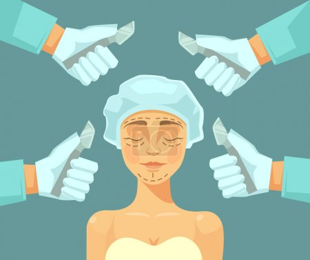 Illustration for Plastic surgery. Vector flat illustration - Royalty Free Image