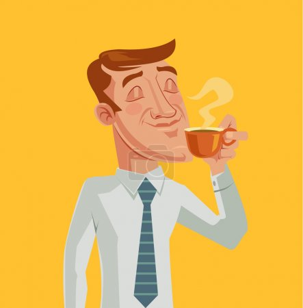 Illustration for Morning coffee. Vector cartoon flat illustration - Royalty Free Image