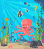 Undersea world Vector flat cartoon illustration