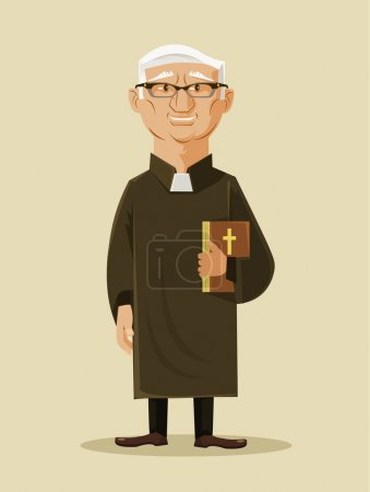 Catholic priest. Vector flat cartoon illustration