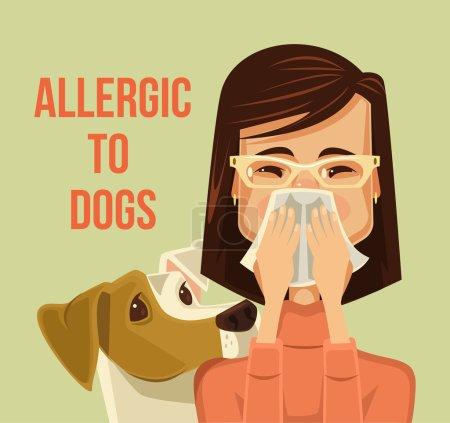 Allergic to dogs. Vector flat cartoon illustration
