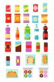 """Постер, картина, фотообои """"Упаковка продуктов питания. Набор бутылку. Соды в бутылке. Шоколад упаковка. Упаковка файлов cookie. Бутылки и упаковки чипсов. Пакет из бутылки. Пакет чипсов. Пакет из файла cookie. Векторный пакет плоский икона set"""""""