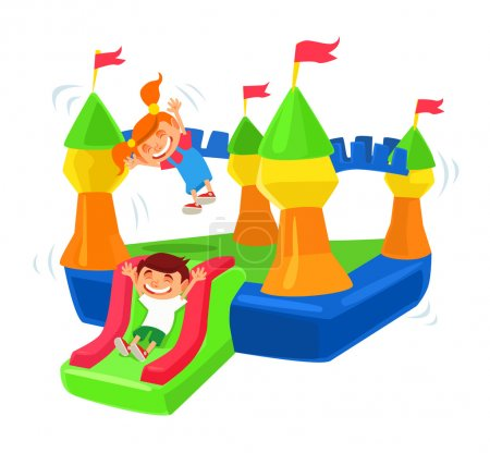 Inflatable castle trampoline. Vector flat cartoon illustration