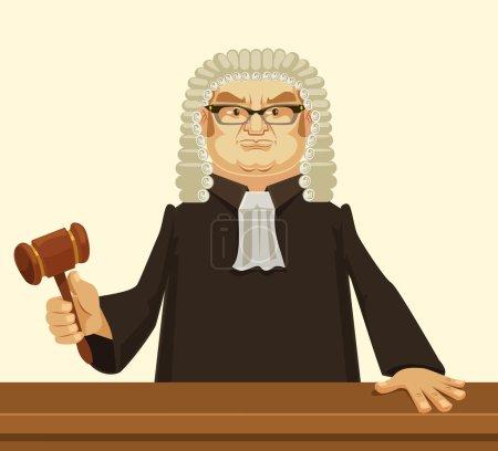 Illustration pour Juge strict. Illustration vectorielle de dessin animé plat - image libre de droit