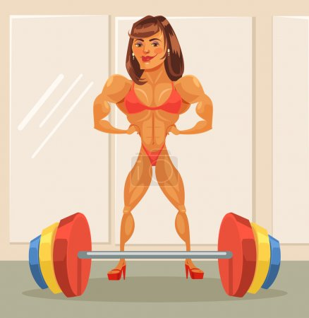 Woman bodybuilder. Vector flat cartoon illustration