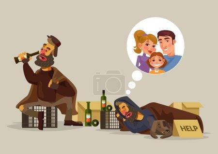 Homeless man dreams of family. Vector flat cartoon illustration