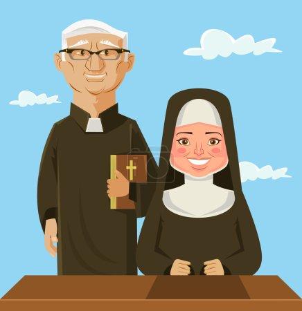 Priest and nun. Vector flat cartoon illustration