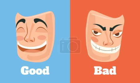 Good and bad mask. Vector flat cartoon illustration