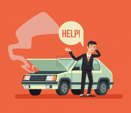 Illustration for Man standing near broken car and calling. Vector flat cartoon illustration - Royalty Free Image