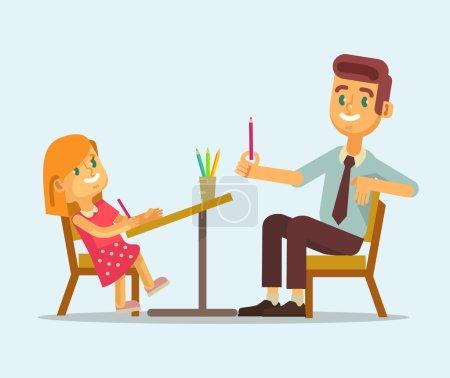 Father and daughter doing homework. Vector flat cartoon illustration