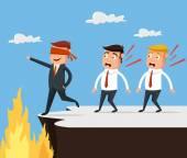 Bad leader Wrong way Vector flat cartoon illustration
