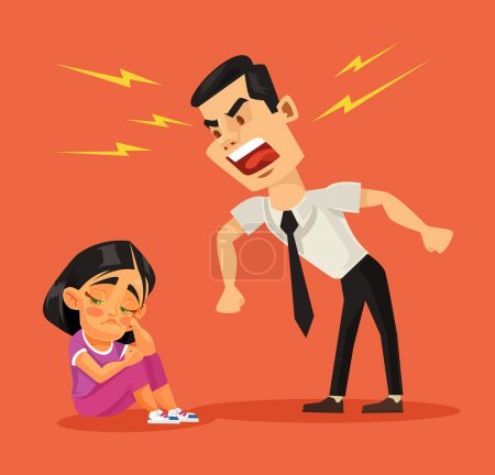 Illustration for Father scolds his daughter. Vector flat cartoon illustration - Royalty Free Image