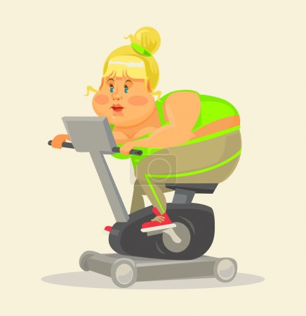 Fat woman in gym. Fat woman on exercise bike. Fitness flat cartoon illustration. Fat girl training