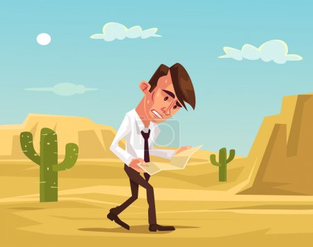 Man lost. Businessman lost in desert. Man trying s...